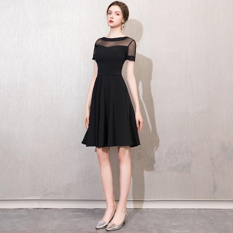 Prom dress short round neck dress fashion slim graduation dress online store for sale