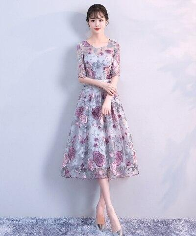 Vestido Cheap Women Pint Flower Short Prom Dresses Elegant O-neck Prom Dress Embroidery Evening Party Gown