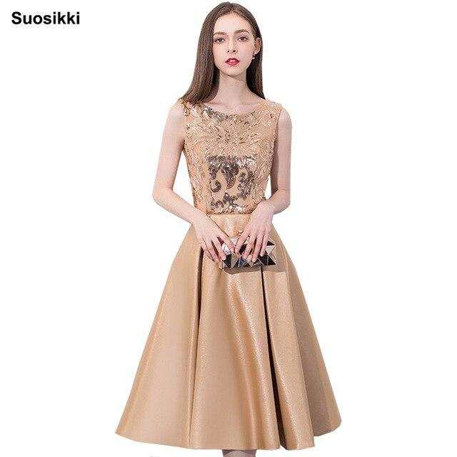 Suosikki  prom dress Gold Lace Appliques Elegant Evening Dresses Short New for junior girls homecoming dress