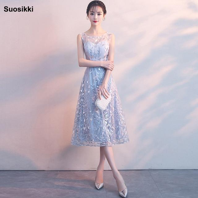 Free shipping Suosikki  Elegant Gray Lace Prom Dress Simple Short Party Formal Gown