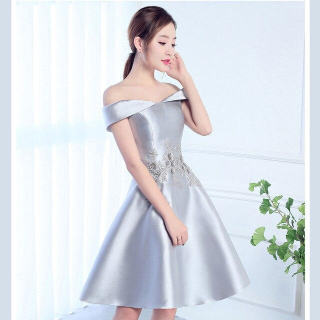 JaneyGao Free shipping Prom Dresses Short Style Red Color For Women Elegant  Formal Gown Evening Party Dresses Wine Red Silver-grey On Sale