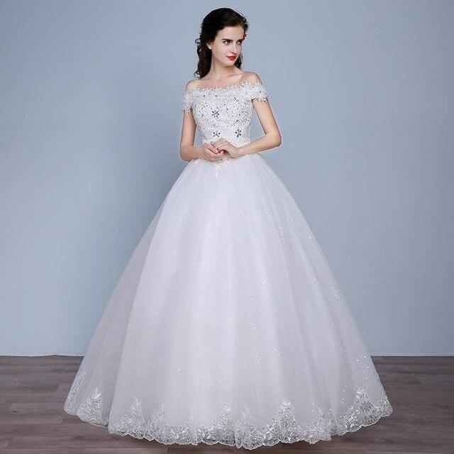 VENSANAC Crystal Flowers Boat Neck Lace Appliques Ball Gown Wedding Dresses Sequined Short Sleeve Bridal Dress