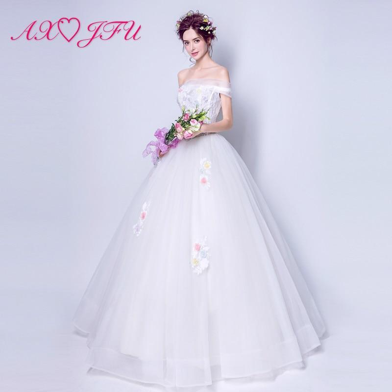 AXJFU Sexy shoulder style flower lace wedding dress luxury boat neck white Princess Bride lace wedding dress