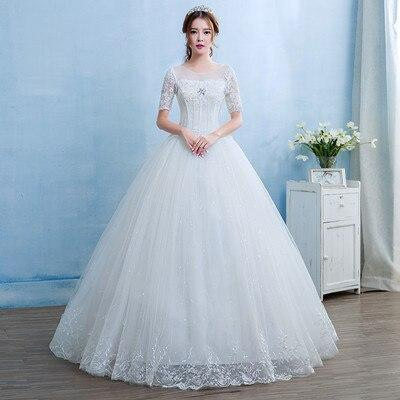Holievery Lace Tulle Ball Gown Wedding Dresses with Crystal Vestidos Short Sleeves Bridal Gowns Robe
