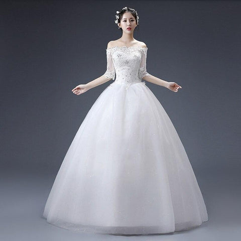 Bealegantom Free shipping Stock White Half Sleeve Wedding Dresses Beaded Lace Up Bridal Gowns