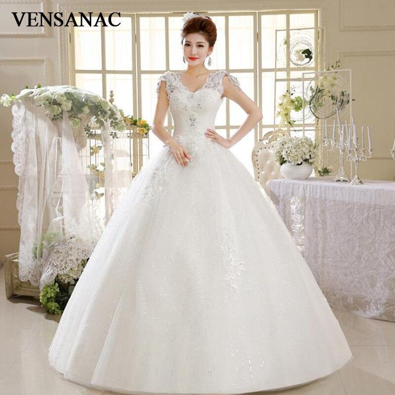 VENSANAC Crystal V Neck Ball Gown Lace Flowers Appliques Wedding Dresses Sequined Tank Backless Bridal Gowns