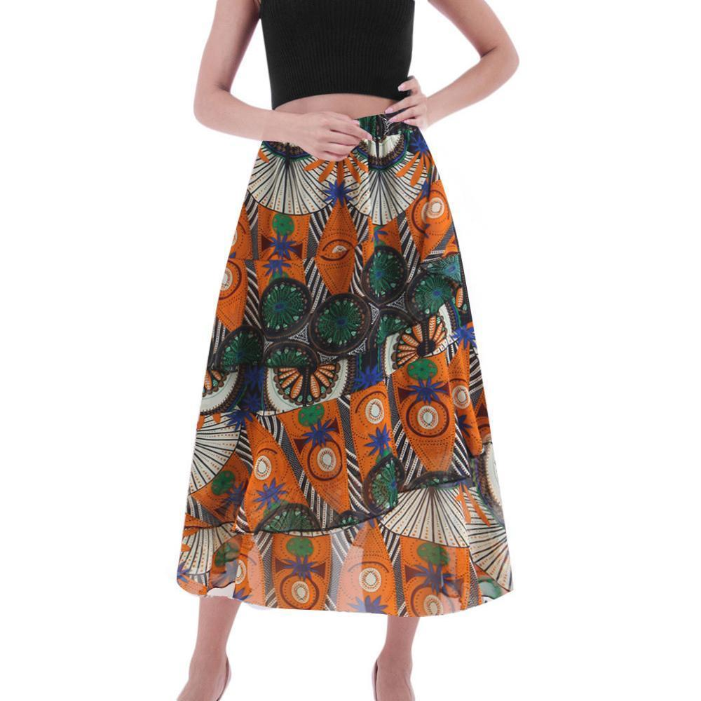 Women Casual Skirts Printed Elastic Waist Skirt Slim Casual Beach Skirt Women Summer Sexy And Club