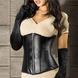 Fashionable Sexy Leather Corsets And Bustiers Zipper Front Underbust Corselet Waist Corset