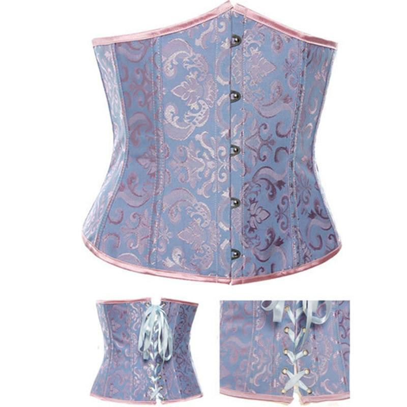 Free shipping Corset Fashion Lace Up Back Steel Boned Bustiers Top Corsets Underbust Waist Trainer Floral Corpete Corselet