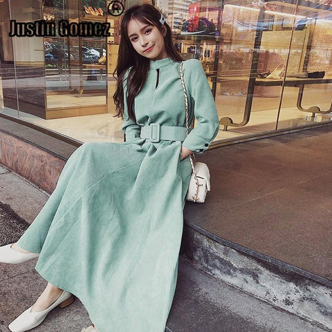 Autumn Retro Corduroy Dress With Belt Vintage Sashes Decorative Charming Ladies Outwear Women's Dress Sexy New Arrival Dresses
