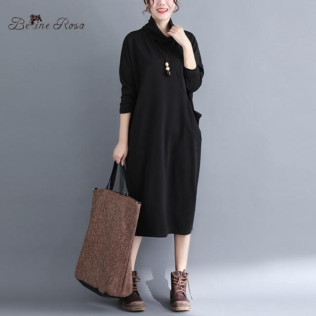 BelineRosa Free shipping Simple Style Pure Color Women Dresses Autumn Winter Basal Women Clothing Turtleneck Collar Ladies Dress
