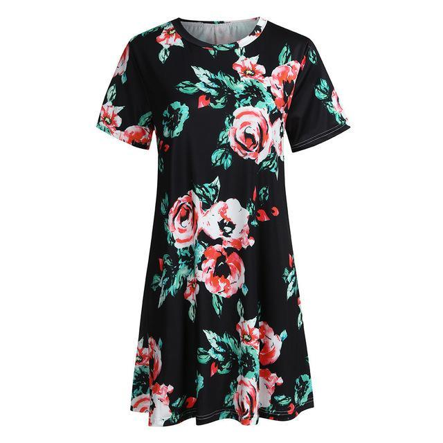 Women Sunflowerprinting Summer Dress Oansatz Short Casual Swing Lose Party Mini Clothes Beach Clothes Summer Dress