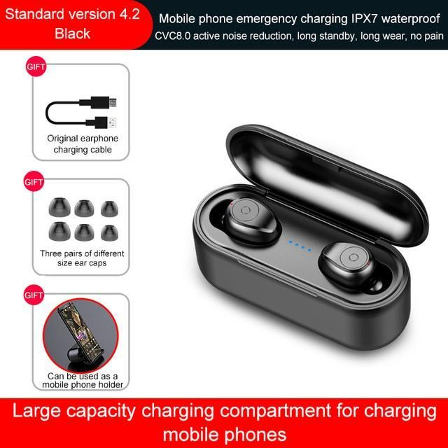 Wireless Earphone Bluetooth 5.0 TWS Headset With Mic 2000mAh Power Bank for iPhone Huawei Samsung F9 Waterproof Wireless Earbuds
