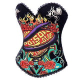Pink Snake Print Steampunk Gothic Overbust Corset Bustier Sexy Burlesque  Corsets And Bustiers