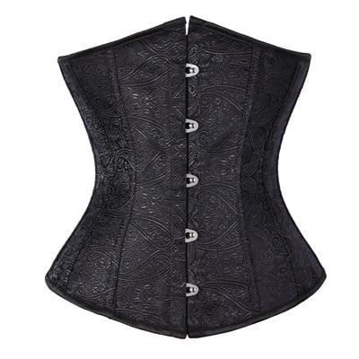 Free shipping Floral Pattern Underbust Vintage Waist Trainer Corset Top GOTH Bustiers Boned Lace Up S-2XL Read Our Size Chart TFS