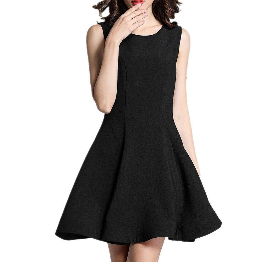 Women's Sleeveless Classical Little Black Dress Fit Flare Dress Elegant Lady  A-Line Mini Party Dresses