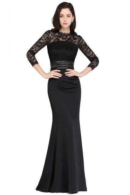 Mermaid Black Lace Evening Dresses Three Quarter Robe Soiree Formal Evening Gown