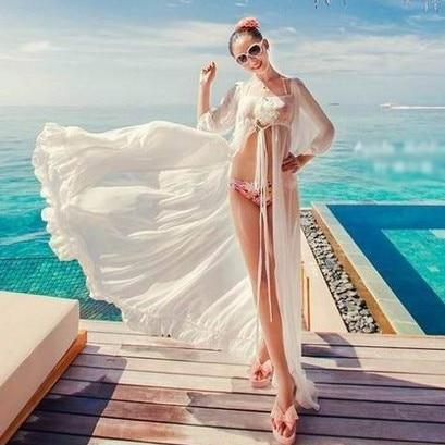Beach Dress Women Long Tunic Cover Up Solid White Beach Wear Chiffon Flouncy Cover Ups Sleeve Sexy See Through Swimsuit Cover Up
