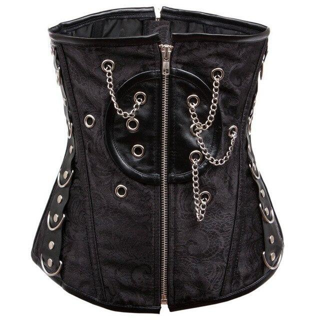 Sexy Black Zipper Waist Trainer Steel Boned Underbust Corset Waist Slimming Corsets For Women Gothic Corselet Steampunk Clothing