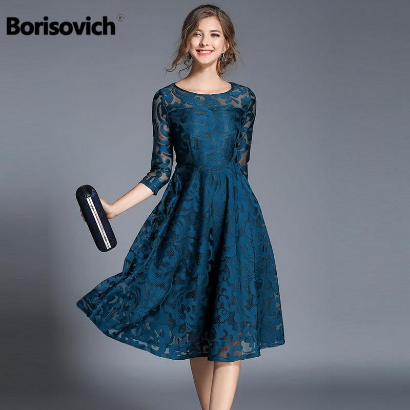 Borisovich Spring Fashion England Style Luxury Elegant Slim Ladies Party Dress Women Casual Lace Dresses