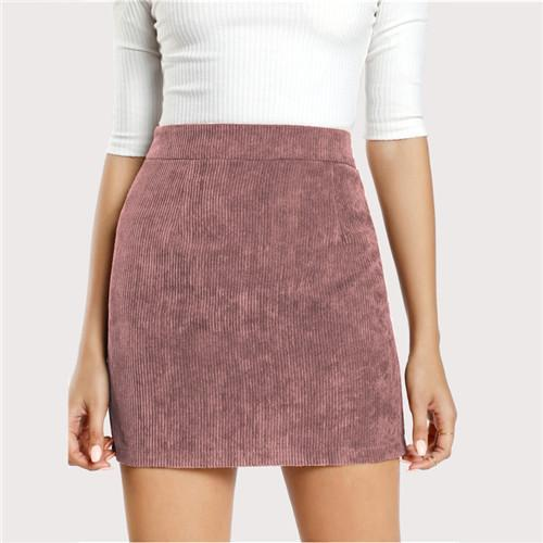 COLROVIE Pink Solid Corduroy Back Zipper Casual Bodycon Skirt Autumn Sexy Mini Women Skirts Winter Streetwear Skirts