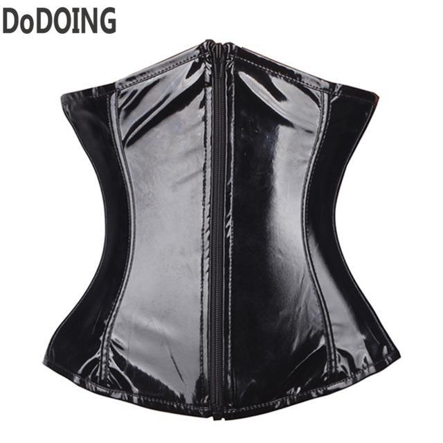 Free shipping zipper corset underwear leather lady Corsets and Bustiers Sexy Lingerie waist trainer Slimming Shaper black tight lacing corset