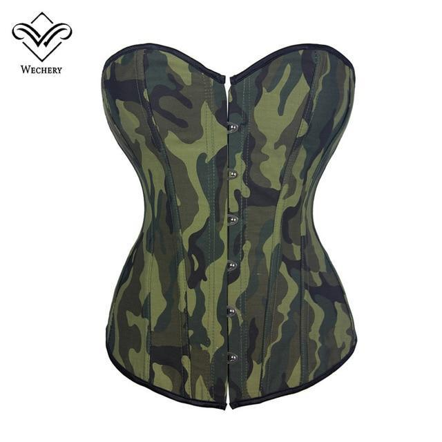 Wechery Corset Steampunk Corsets and Bustiers Gothic Sexy Lingerie Green Corset Overbust Camouflage Straps Corset for Women
