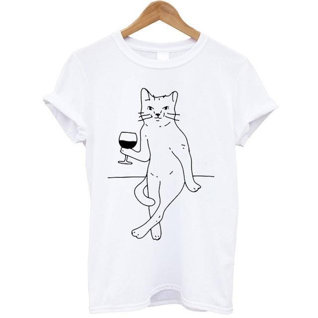 Fashion Women T-Shirt Cat Printed Short Sleeve Round Neck Summer Tops Casual Clothing Plus Size Wine T-shirt Streetwear Tops Tee