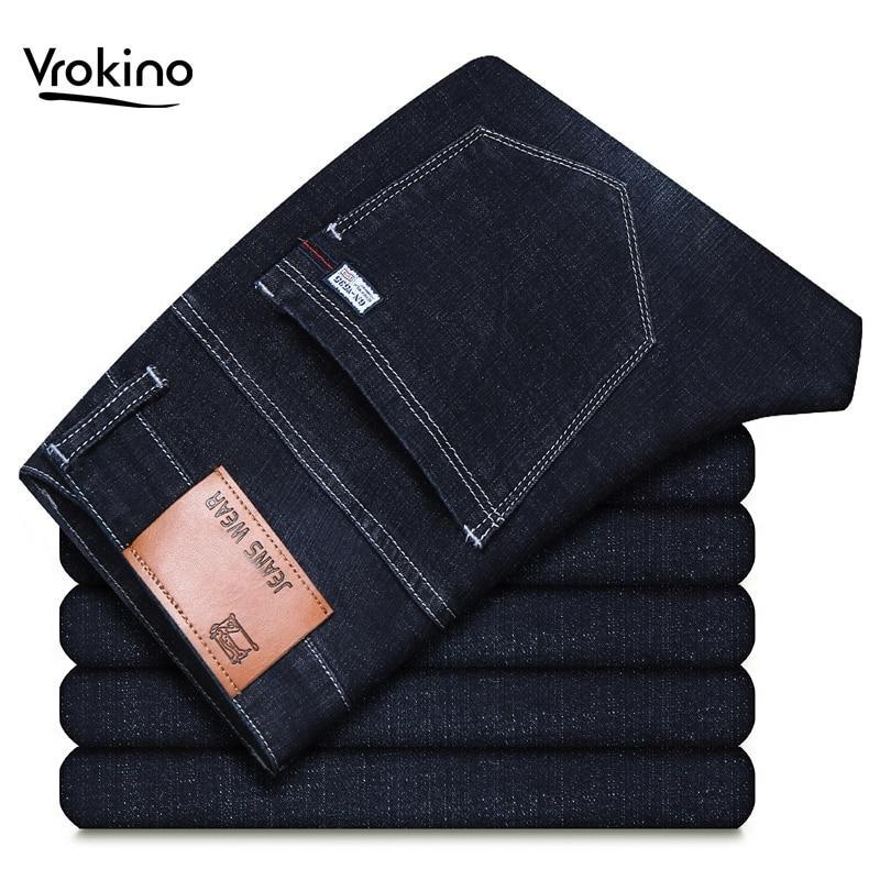 Free shipping VROKINO Brand New Men's Jeans Leisure Fashion Business Elastic Force Jeans Straight Classic Pants Male Blue Black Jeans