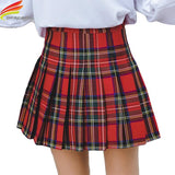 Mini Skirt Autumn Clothes New Arrivals Red And Blue Plaid A Line Pleated Skirt Women Korean Fashion High Waist Skirts Women