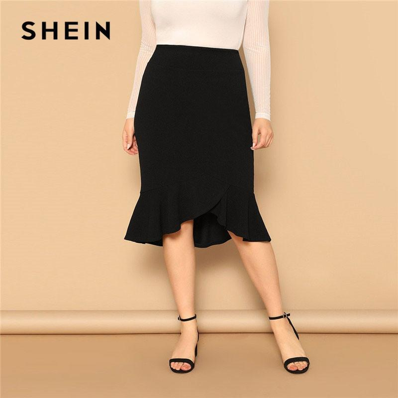 SHEIN Free shipping Plus Size Asymmetrical Ruffle Hem Black Bodycon Skirt Office Lady Elegant Solid Knee-Length Weekend Casual Pencil Skirts