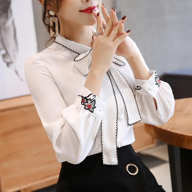 Women blouse long sleeve chiffon women's shirt bow patchwork women clothing white and red color OL feminine blouse
