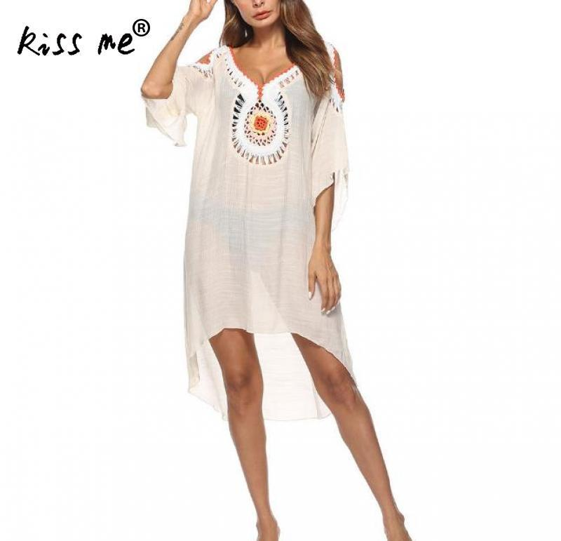 Sexy Deep V Beach Cover Up Hollow Swimsuit Beach Dress Women Summer Ladies Cover-Ups Bathing Suit Beach Wear Beachwear