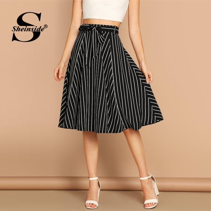 Sheinside Black and White Elegant Striped Print Skirt Women Casual High Waist Midi Skirts 2019 Spring Ladies A Line Belted Skirt