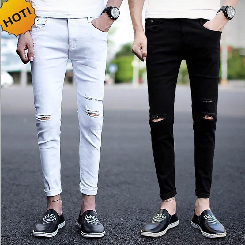 Free shipping New arrival Spring Summer Knee hole men cowboy hip hop street black white denim skinny jeans men teenagers Ankle length pants