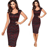 Brand Women's Sexy Elegant Summer Floral Flower Lace Cap Sleeve Slim Casual Party Fitted Sheath Bodycon Dress vestidos 4XL