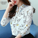 Women Spring Autumn Chiffon Blouses Tops Chiffon Blouses Shirts Ladies Floral Print Blouse Long Sleeve Plus Size