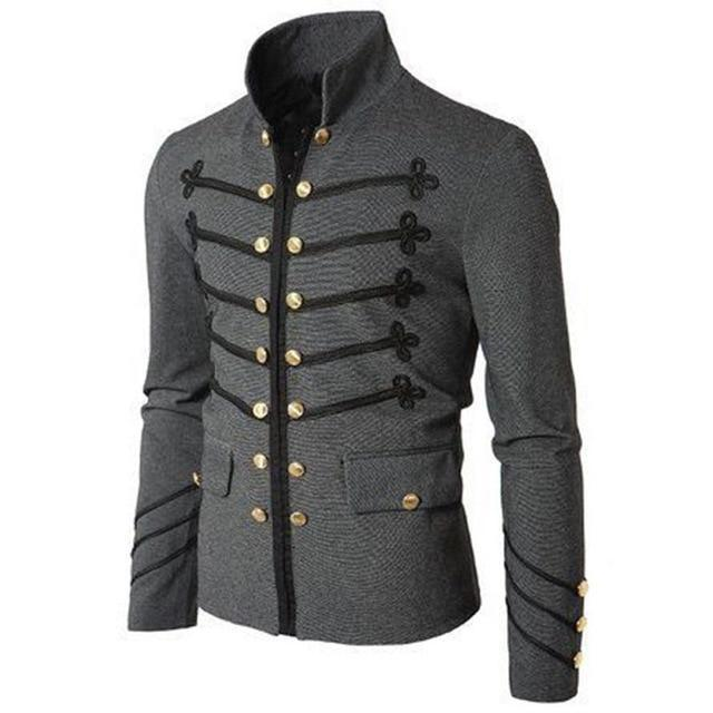 Genuo Retro Men Parade Jacket Gothic Military Army Coat Steampunk Tunic Rock Frock Uniform Male Vintage Punk Cosplay Costume