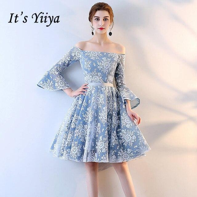 Free shipping It's YiiYa Fashion Designer Lace Illusion Flowers Pattern Dresses Blue Boat Neck Ball Gowns