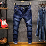 Free shipping Spring New Men's Elastic Cotton Stretch Jeans Pants Loose Fit Denim Trousers Men's Brand Fashion Wear and washed jean pants