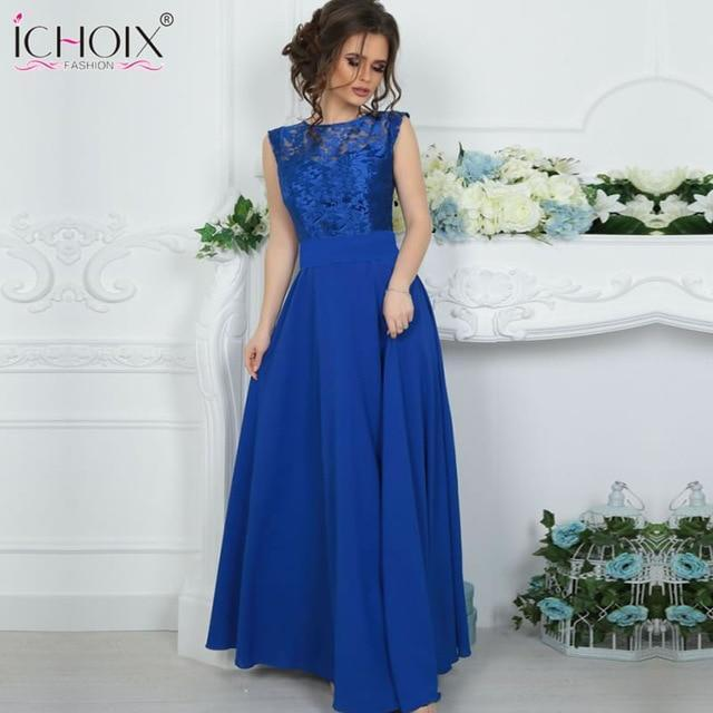 Dress Summer Maxi dress Mesh Blue Lace sexy long dress Women Backless female elegant Party Floor length Dress Robe