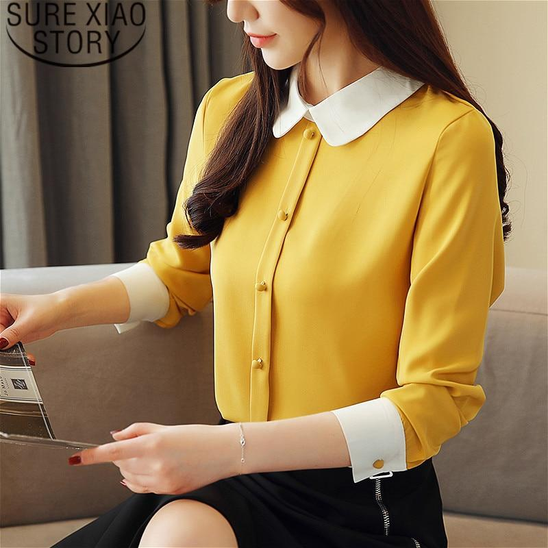 Women's tops and blouses chiffon blouse Button Solid Turn-down Collar plus size shirts