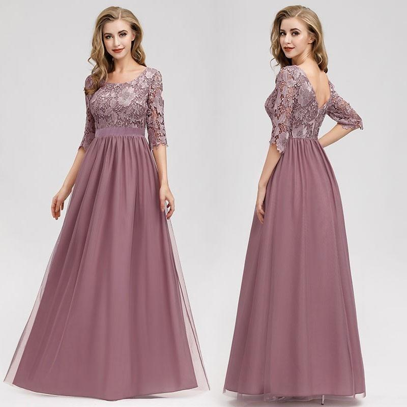 Lace Evening Dresses Long Ever Pretty O-Neck A-Line Half Sleeve Sexy Appliques Elegant Women Evening Gowns Robe De Soiree