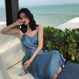 Summer Women Backless Sexy Ice Silk Smooth Strap Casual Solid Color Sleeveless Beach Party Club Dress