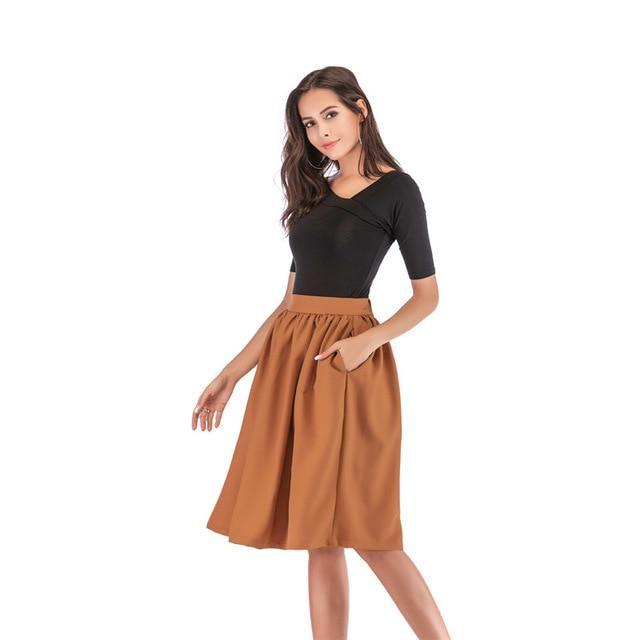 Neophi Summer Pleated Pockets Women Midi Skirts High Waist XXL Vintage Style Black Red Ladies Skater Skirt Longa Saia S1111