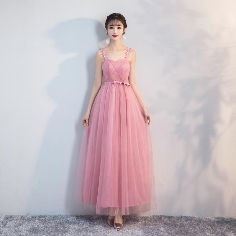 Lace up Pink bean sand Net Long Bridesmaid Dresses new spring wholesale wedding party prom bridal dress
