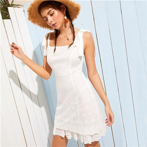 COLROVIE White Straps Knot Eyelet Embroidery Schiffy Boho Short Dress Women Summer Style Sleeveless Layered Holiday Dresses