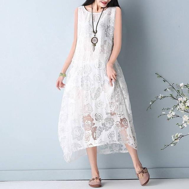 ZANZEA Summer Women Lace Crochet Floral Sleeveless Vest Long Dress Round Neck Loose Casual Solid Party Dress Plus Size