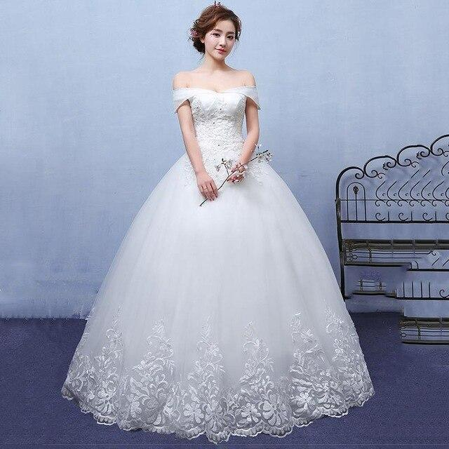 Do Dower Noble Off White Boat Neck Wedding Dress Lace Embroidery Princess Custom Made Floor-length Wedding Gown Robe