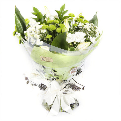 Mixed Hand Tied Bouquet White And Green